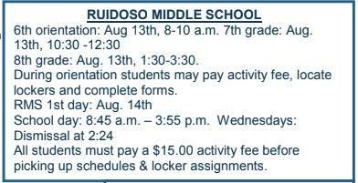 RMS Back to School Schedule