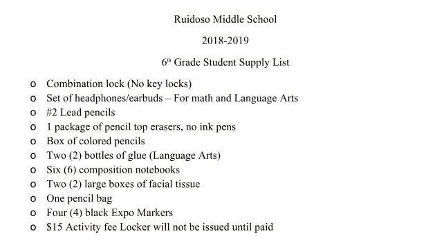 6th Grade Student Supply List SY 2018-2019