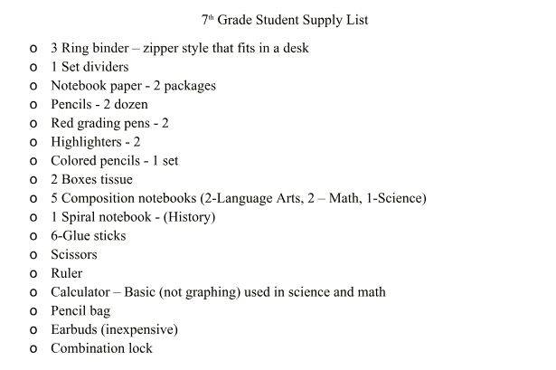 7th Grade Student Supply List SY 2018-2019