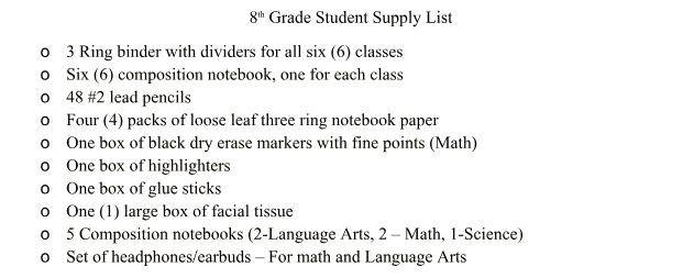 8th Grade Student Supply List SY 2018-2019